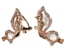 Серьги Style Avenue. Серебро 925, перламутр, фианиты, розовая позолота