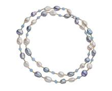 Колье Style Avenue. Серебро 925 с родированием и позолотой, культивированный жемчуг, аквамарин