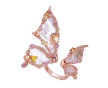 Кольцо Style Avenue. Серебро 925, перламутр, фианиты, розовая позолота