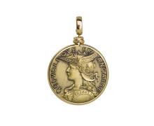 Кулон большой Style Avenue. Позолоченное серебро 925, бижутерный сплав (монета)