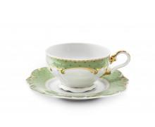 Чашка с блюдцем 0,20 л. . Коллекция ANTONIE DOT - светло-зеленый